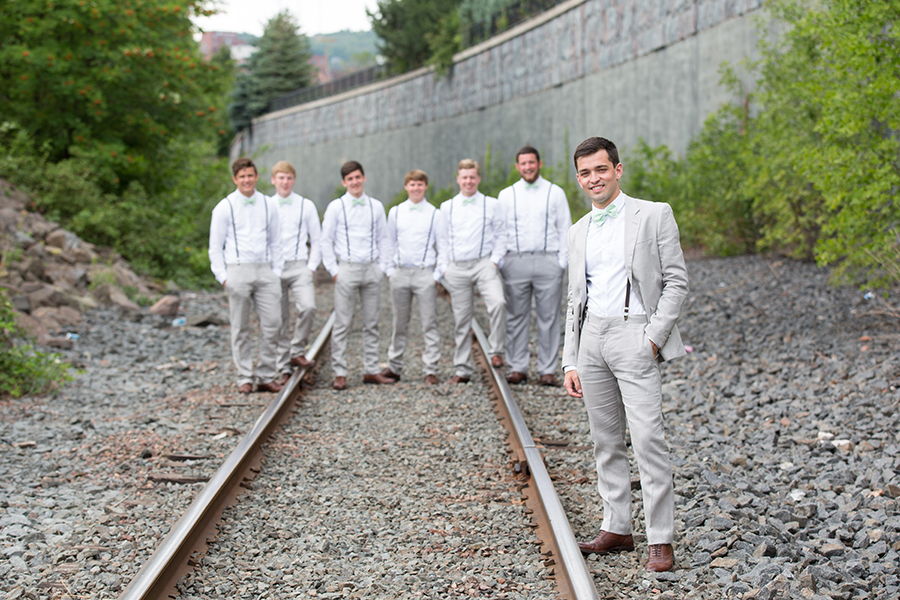 Groomsmen on the Railroad